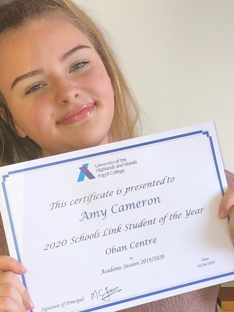 Oban Schools Link Student of the Year 2020