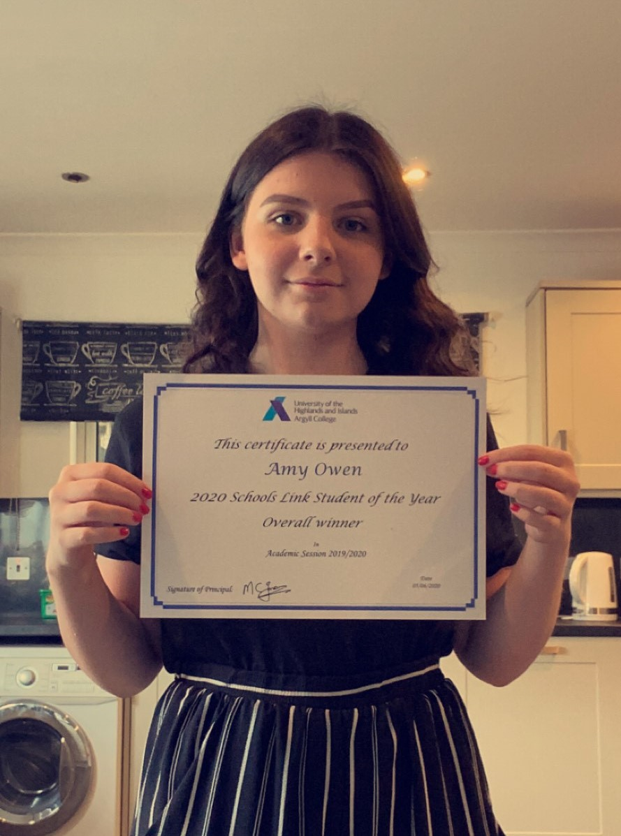 Argyll College Overall Schools Link Student of the Year 2020: Amy Owen