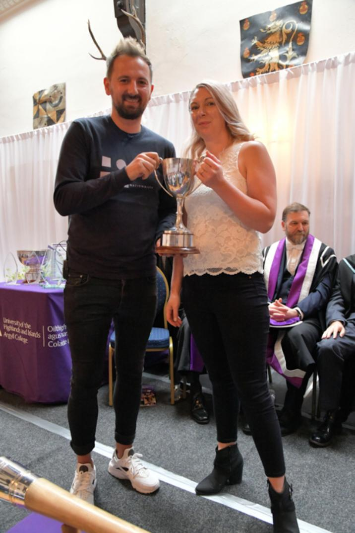 Kerry Anne Wallace receives the Mary Mackenzie Memorial Cup for Hairdressing