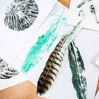 example of student art work including drawing of feathers and shellfish