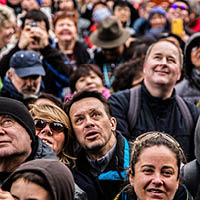 closeup of people in a crowd